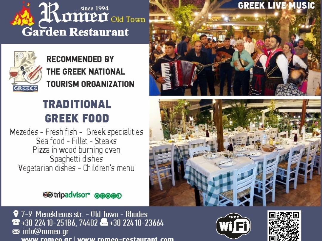 Romeo Garden Restaurant in Rhodes